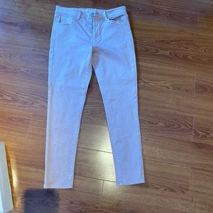Blush pink skinny jeans
